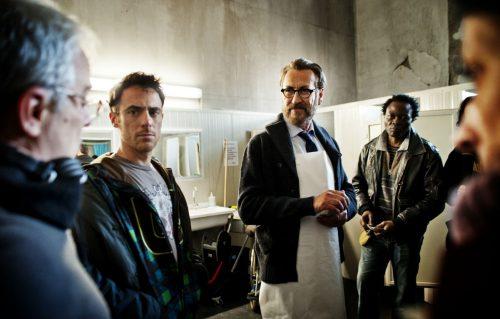 Daniele Luchetti, Elio Germano e Marco Giallini sul set di 'Io sono Tempesta'. Credit: Emanuela Scarpa.