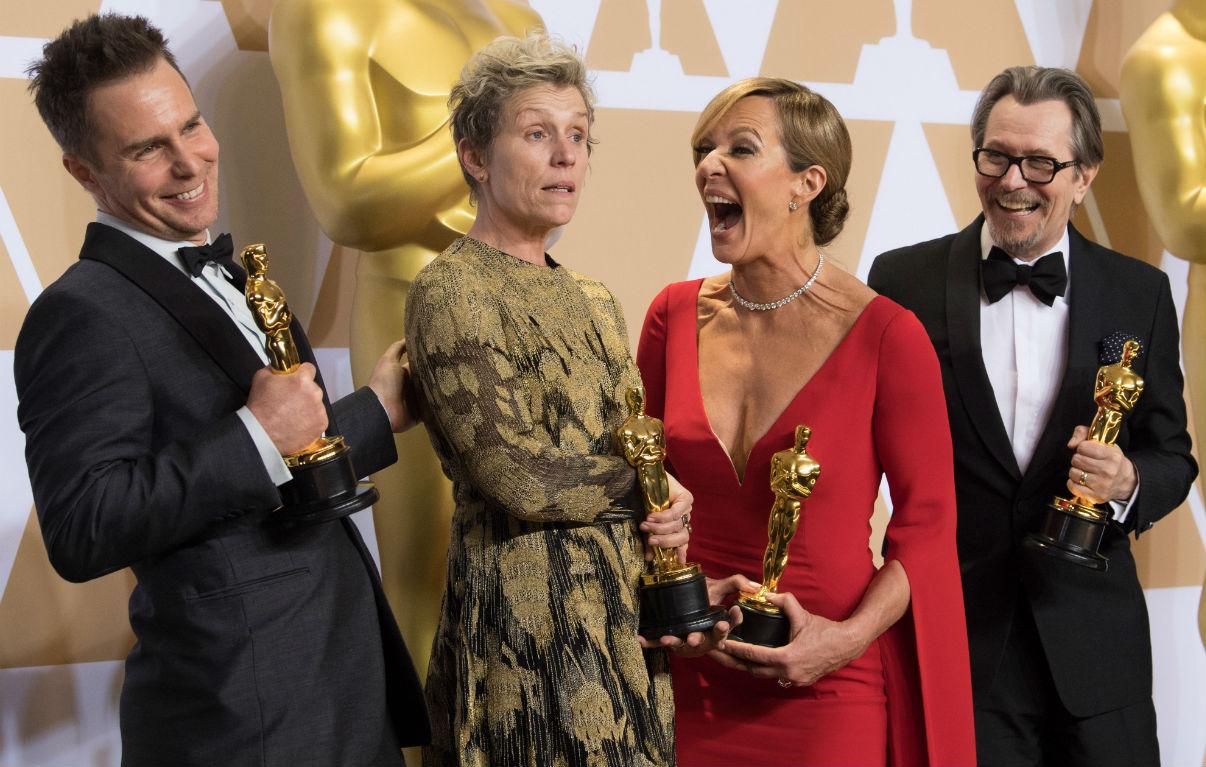 Sam Rockwell, FrancesMcDormand, Allison Janney e Gary Oldman. Credit: Michael Yada / A.M.P.A.S.