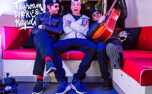 Federico Russo e Francesco Mandelli con Clementino per la tappa conclusiva di Flyroam Diaries, Timberland - Artwork di Fabio Persico