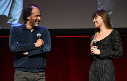 Luca Guadagnino e Dakota Johnson al CinemaCon di Las Vegas. Frank Micelotta / Sipa USA / IPA