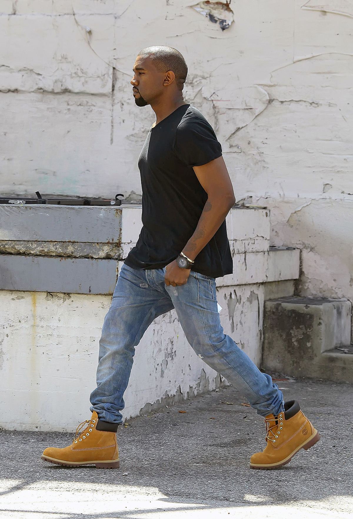 Kanye West con gli Yellow Boots di Timberland. Foto di Bauer-Griffin/GC Images
