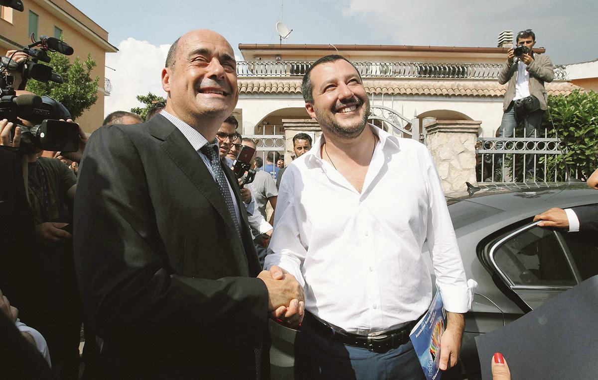 Roma, giugno 2018. Nicola Zingaretti e Matteo Salvini durante un sopralluogo tra le ville dei clan