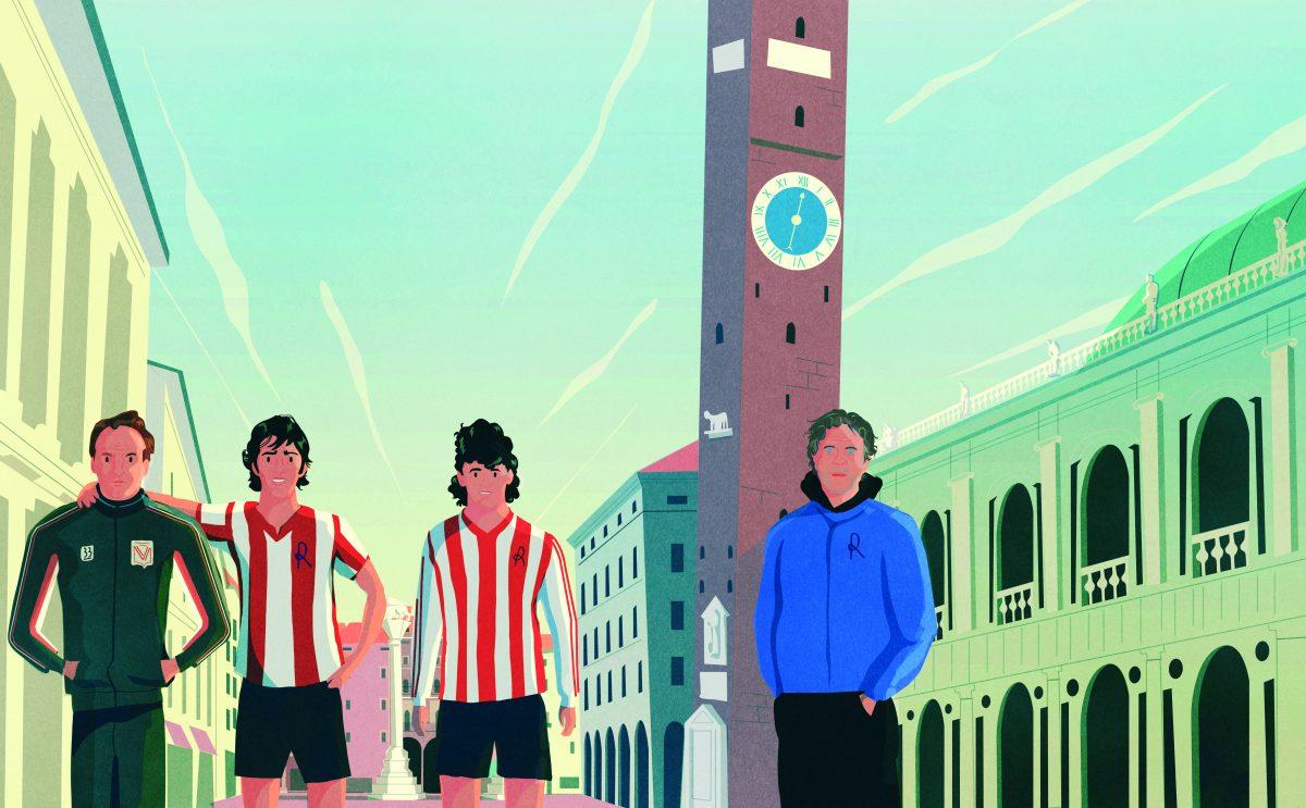 Da sinistra: mister Francesco Guidolin, Paolo Rossi, Roberto Baggio e Renzo Rosso in piazza della Signoria nell'illustrazione di Germano Poloni