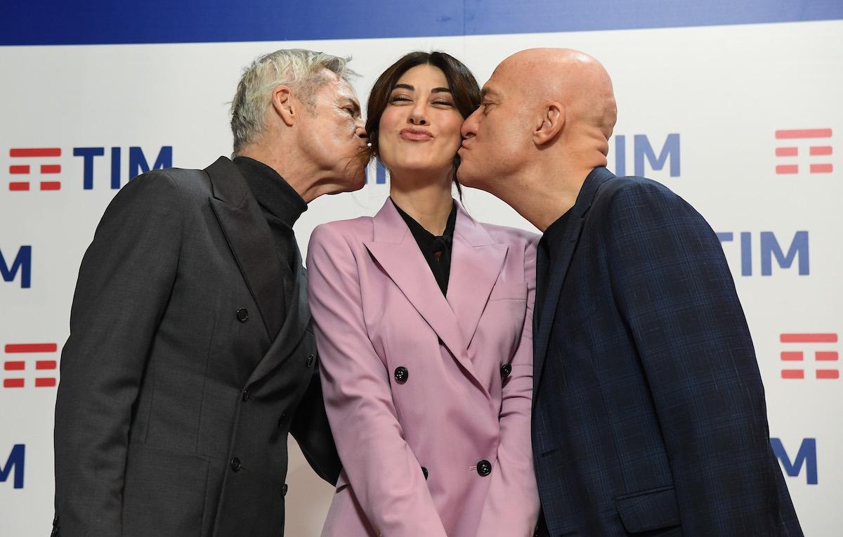 Baglioni, Raffaele e Bisio, i tre co-conduttori del Festival. Foto: Maurizio D'Avanzo/IPA