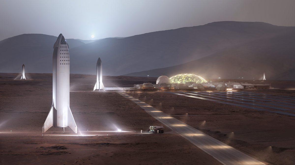 Un render di come potrebbe essere la prima base umana su Marte. Fonte: SpaceX