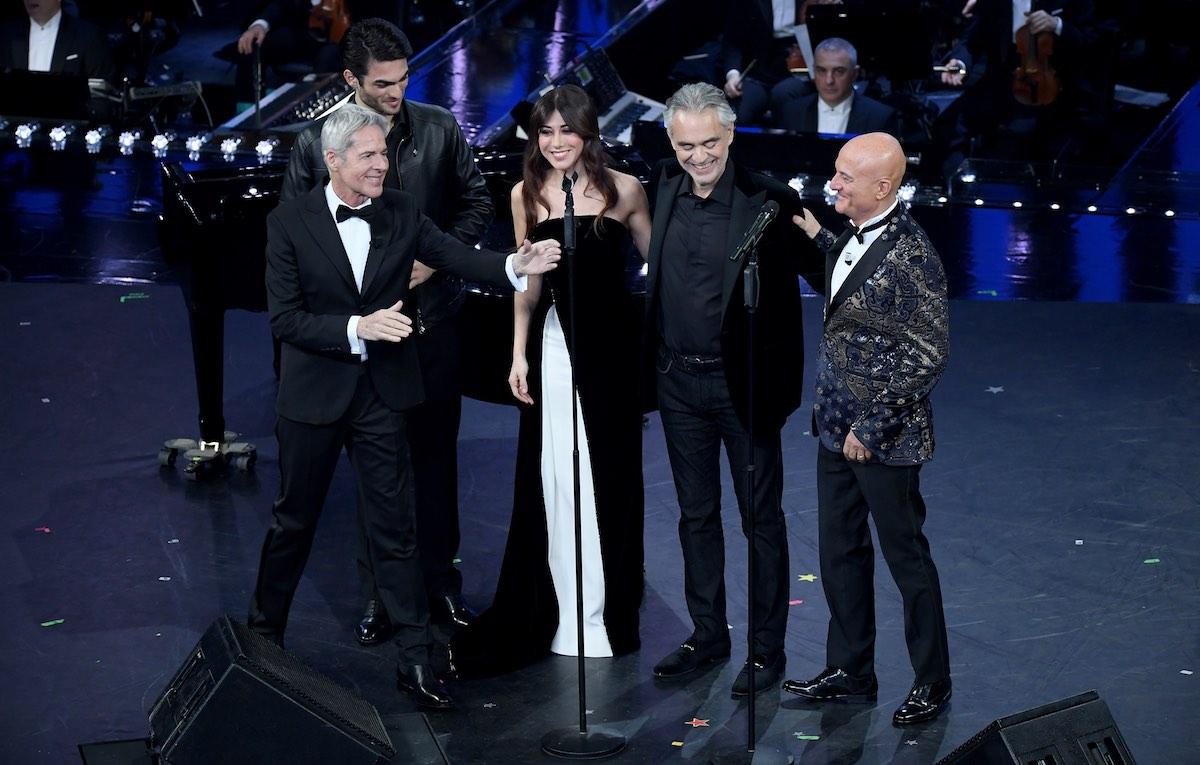 Andrea e Matteo Bocelli sul palco dell'Ariston. Foto: Maurizio D'Avanzo / IPA