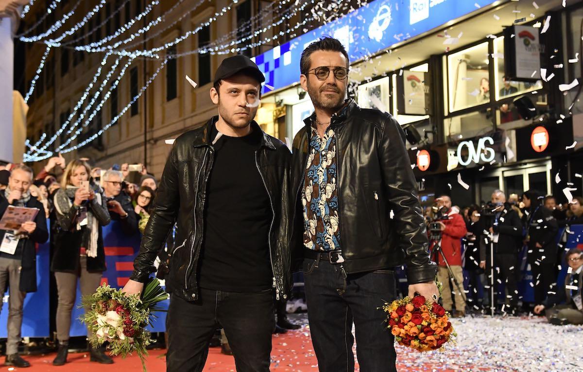 Silvestri e Rancore sul red carpet di Sanremo. Foto: Riccardo Dalle Luche / IPA