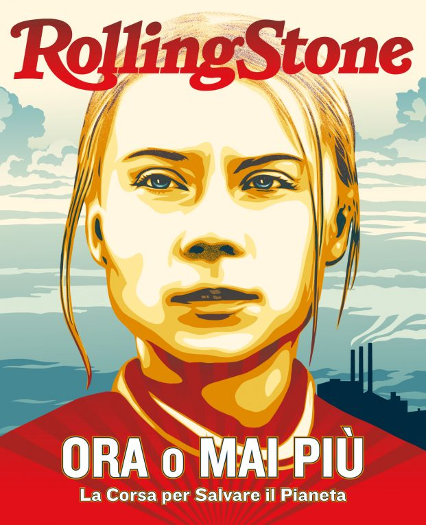 Greta Thunberg, illustrazione di Shepard Fairey basata su una foto di Markus Schreiber/AP Images/Shutterstock