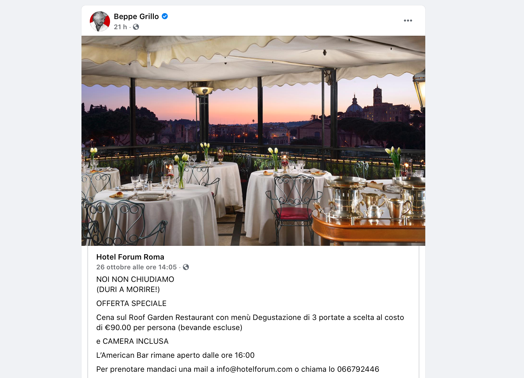 Beppe Grillo ha rilanciato un albergatore che ha trovato un cavillo per aggirare il Dpcm