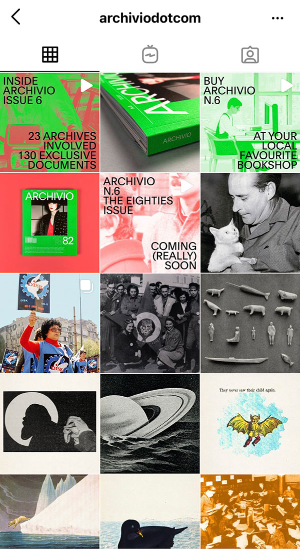 """""""Archiviodotcom"""", profilo IG di Archivio, il magazine diretto da Valerio Millefoglie"""
